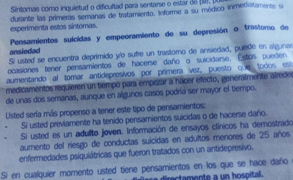 Tratamiento contra la depresión. Advertencia: puede inducir al suicidio. YOU GUYS ARE DOING A GREAT JOB 👍