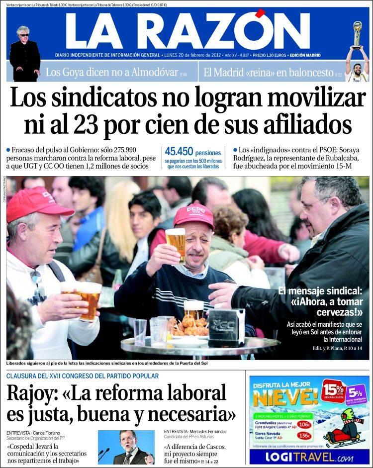 Portada de La Razón 20/20/2012