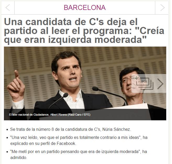 Una candidata de C's Mataró deja el partido después de haberse leído el programa