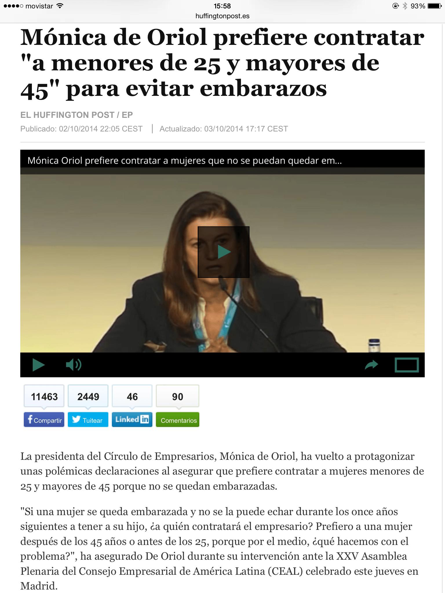 Mónica de Oriol no contrata mujeres de entre 25 y 45 para evitar embarazos