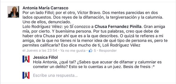 Antonia Carrasco, Presidenta de GenMad, expresando públicamente su estrecha relación de amistad con Chusa Fernández Pinilla.