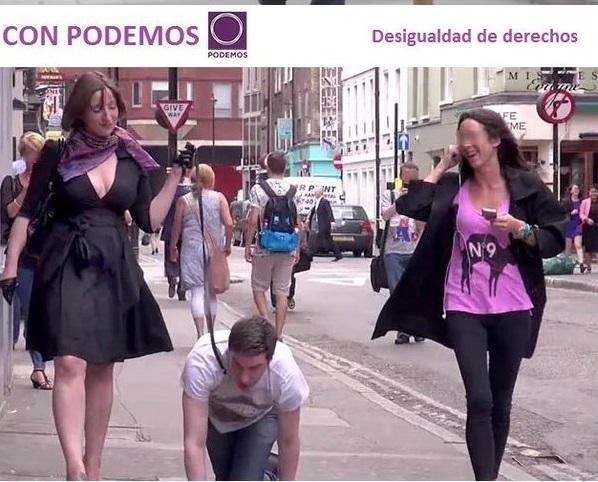 Hembristas radicales de Podemos quieren esclavizar a los hombres. O cuando el mensaje político se te va de las manos