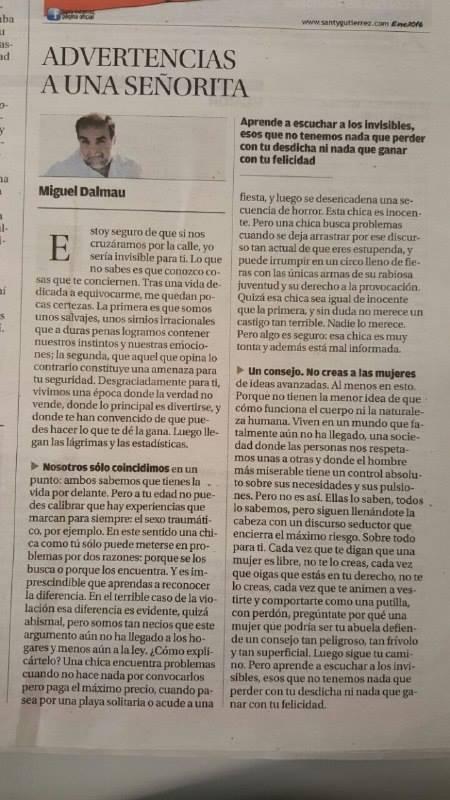 """Miguel Dalmau, """"Advertencias a una señorita"""", columna publicada en el Diario Mallorca"""