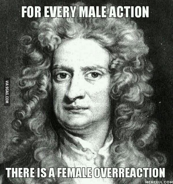 For every male action there is a female overreaction