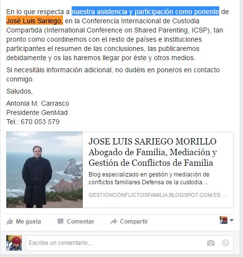 """Antonia Carrasco informando de la asistencia de José Luis Sariego al Congreso Internacional de Custodia Compartida en representación """"nuestra"""" (de GenMad) en julio de 2014"""