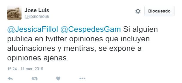 """Jose Luis Sariego en su cuenta """"B"""" culpándome del acoso que recibo"""