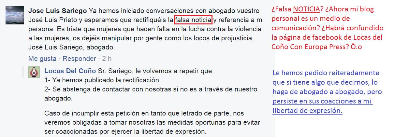 """El abogado José Luis Sariego confunde mi blog personal con un medio de comunicación que da """"noticias"""" y persiste en sus coacciones a la libertad de expresión."""