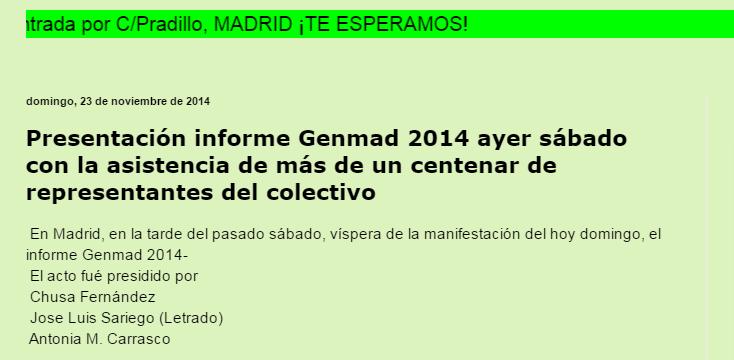 Acto de presentación del informe GenMad 2014 en el que José Luis Sariego actuó como ponente junto a Chusa Fernández Pinilla y la Presidenta de la asociación Antonia Carrasco
