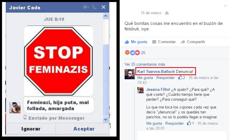 """Una amiga comenta los insultos que le envían desconocidos por facebook, y un amigo suyo le recomienda """"¡denuncia!"""""""
