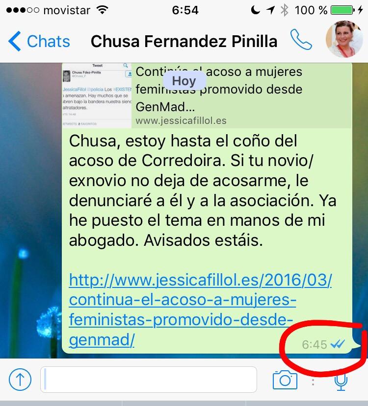 Mensaje de whatsapp enviado a Chusa Fernández Pinilla avisándola de que o cesan el acoso o tomaré medidas legales contra el promotor y la asociación que lo ampara.