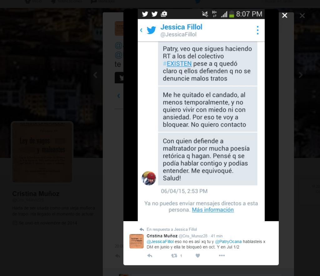 Mensajes privados que envié yo a Patry Ocaña y que ella ha reenviado a personas vinculadas al colectivo #EXISTEN