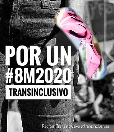 Anexo 6: Llamamiento a utilizar el pañuelo rosa como símbolo de protección a las mujeres trans en la marcha del 8 de marzo de 2020. Fotografía de la activista trans Lara Santaella.
