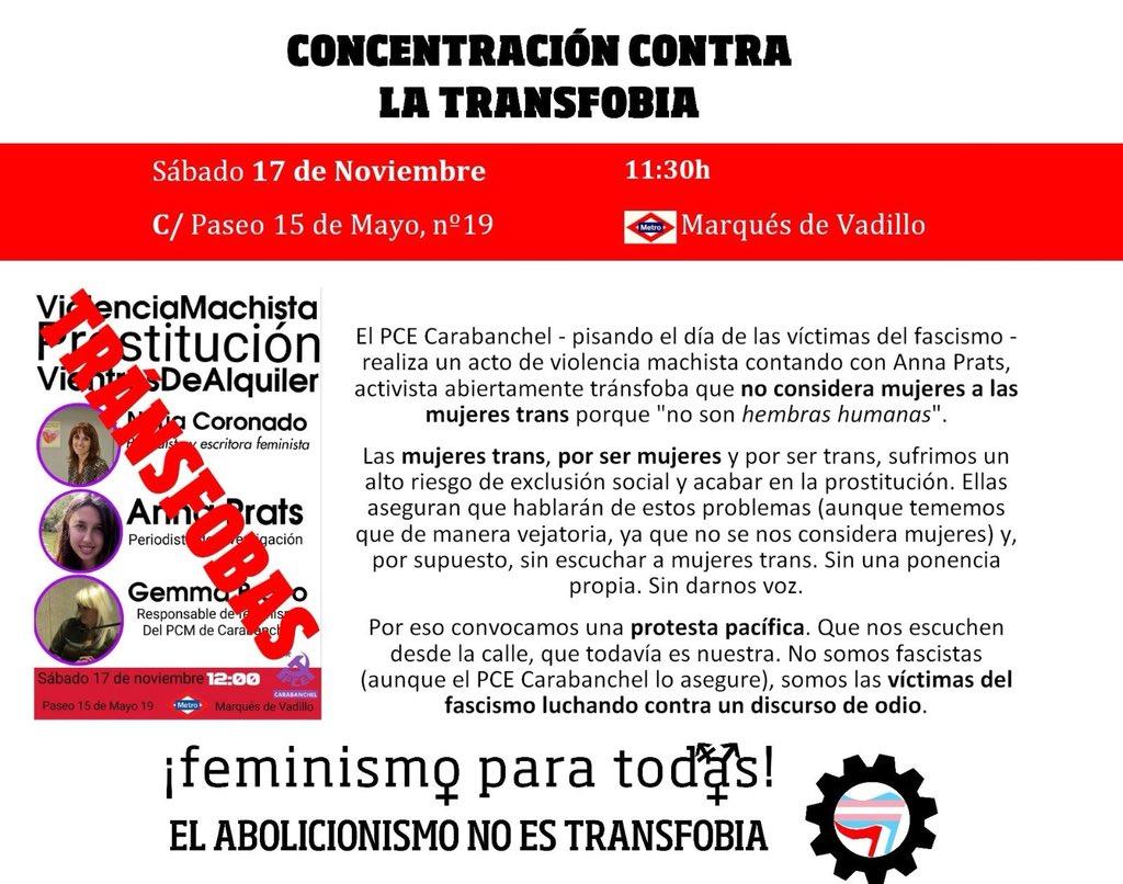 Anexo 3: Cartel de la manifestación convocada el 17 de noviembre de 2018 contra la presencia de Gemma Bravo y Anna Prats en una charla sobre vientres de alquiler. El argumento para silenciar la charla es la supuesta transfobia de las ponentes.